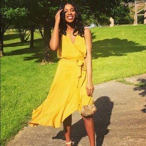 Golden Yellow Express Wrap Dress